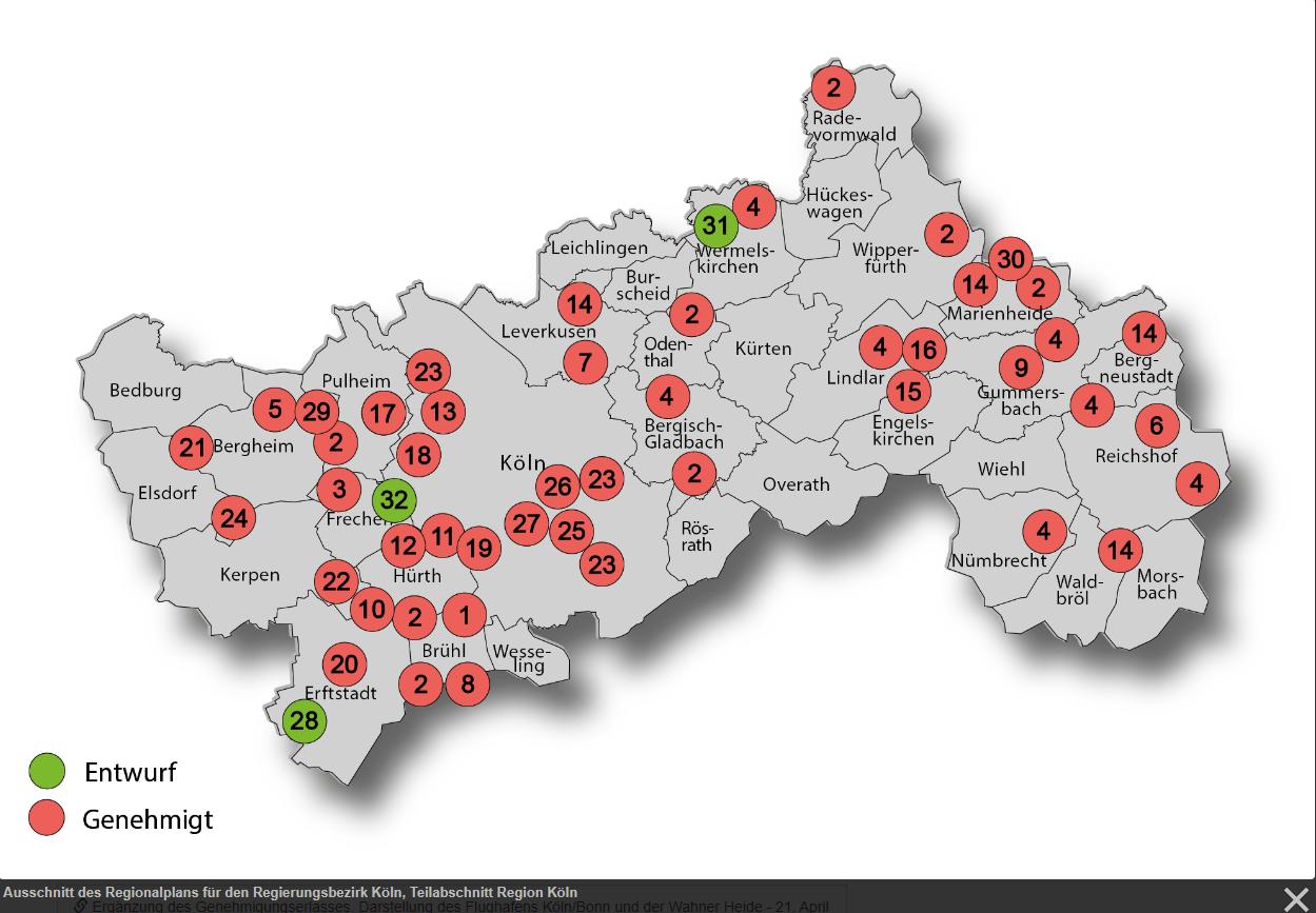 Ausschnitt des Regionalplans für den Regierungsbezirk Köln, Teilabschnitt Region Köln