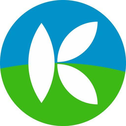 Kreis obere Hälfte blau, untere Hälfte grün, drei weiße Blätter zu einem K-wie Klimaliste geformt